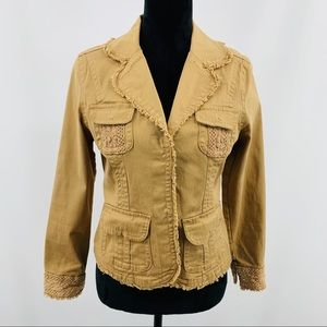 Live a Little Tan Blazer with Frayed Edge Detail